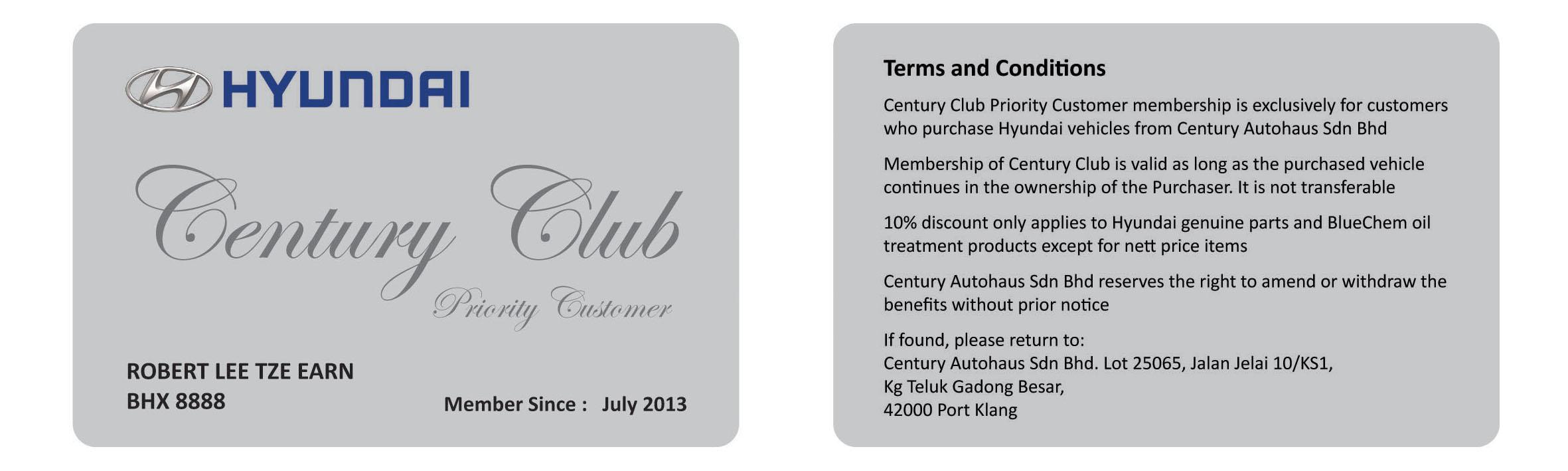 CENTURY CLUB PRIORITY CUSTOMER CARD